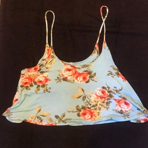 Flowy floral crop tank top